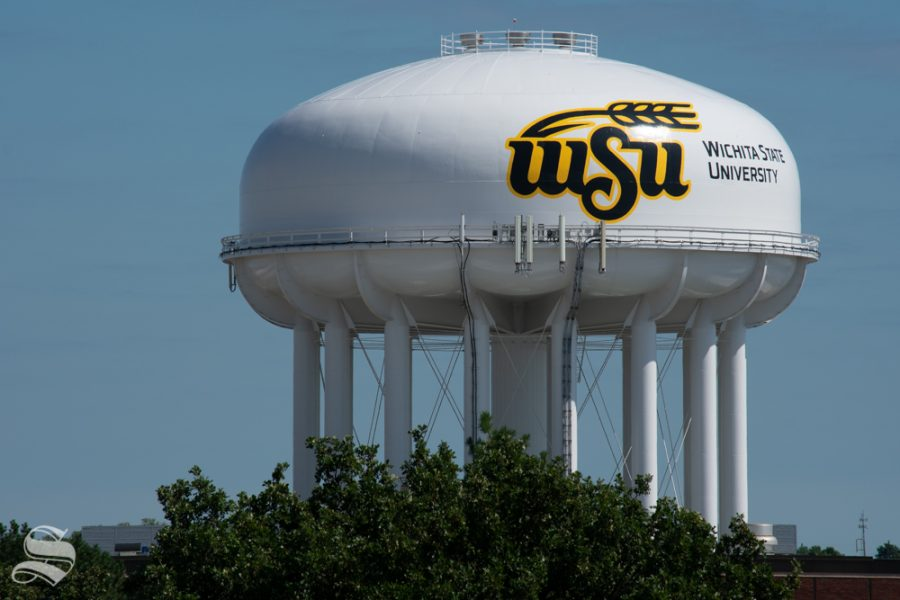 The+Wichita+State+University+water+tower+stands+tall+on+Sept.+25+on+the+main+campus.