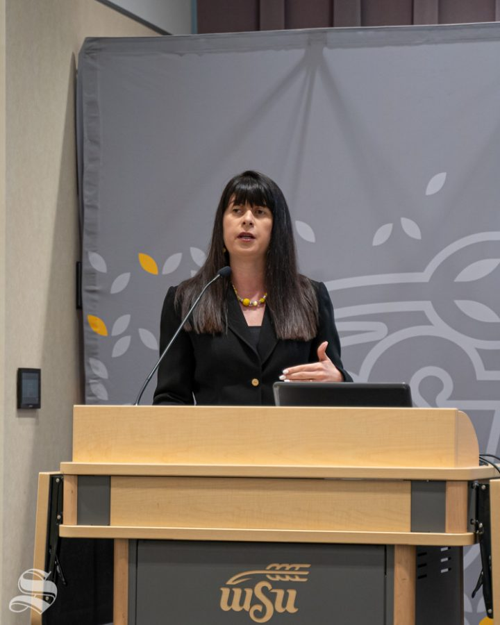 WSU Weekly Briefing featured Barton School business dean Larisa Genin. The briefing was held on Thursday, Sept 26 2019 in the Marcus Welcome Center.