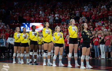 Shocker's starting lineup players during the national anthem before the game against Nebraska on September 21, 2019 at Bob Devaney Sports Center.