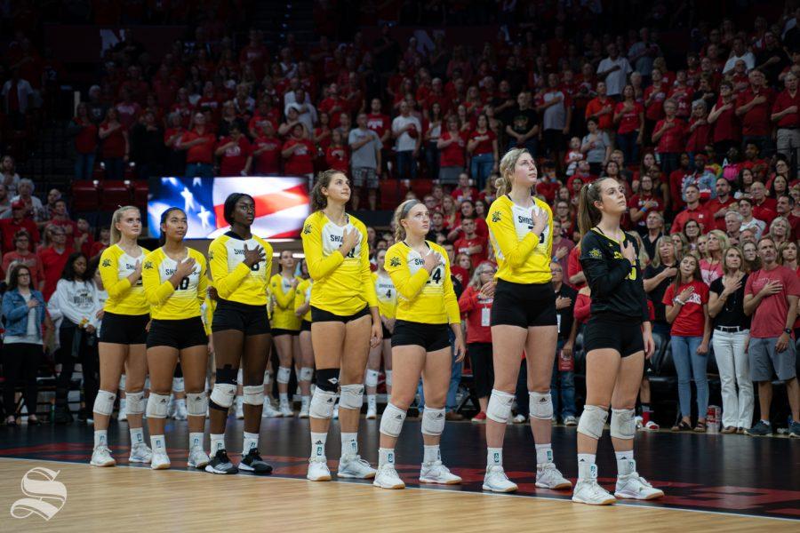 Shocker%27s+starting+lineup+players+during+the+national+anthem+before+the+game+against+Nebraska+on+September+21%2C+2019+at+Bob+Devaney+Sports+Center.