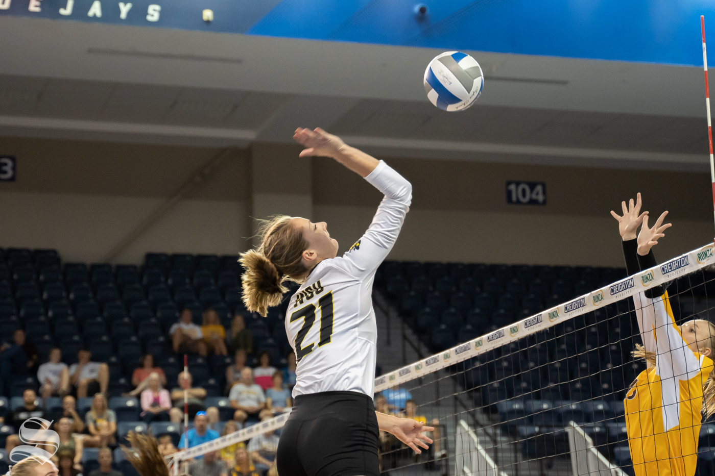 Wichita State redshirt sophomore Megan Taflinger goes up for a kill during the game against Wyoming on September 20, 2019 at D.J. Soko arena.