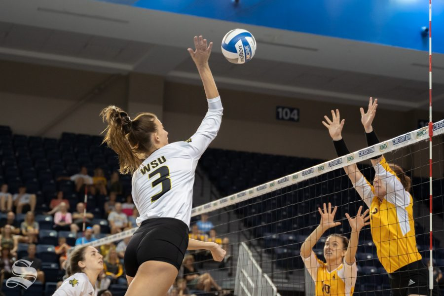 Wichita+State+redshirt+freshman+Brylee+Kelly+goes+up+for+a+kill+during+the+game+against+Wyoming+on+September+20%2C+2019+at+D.J.+Soko+arena+in+Omaha%2C+Nebraska.
