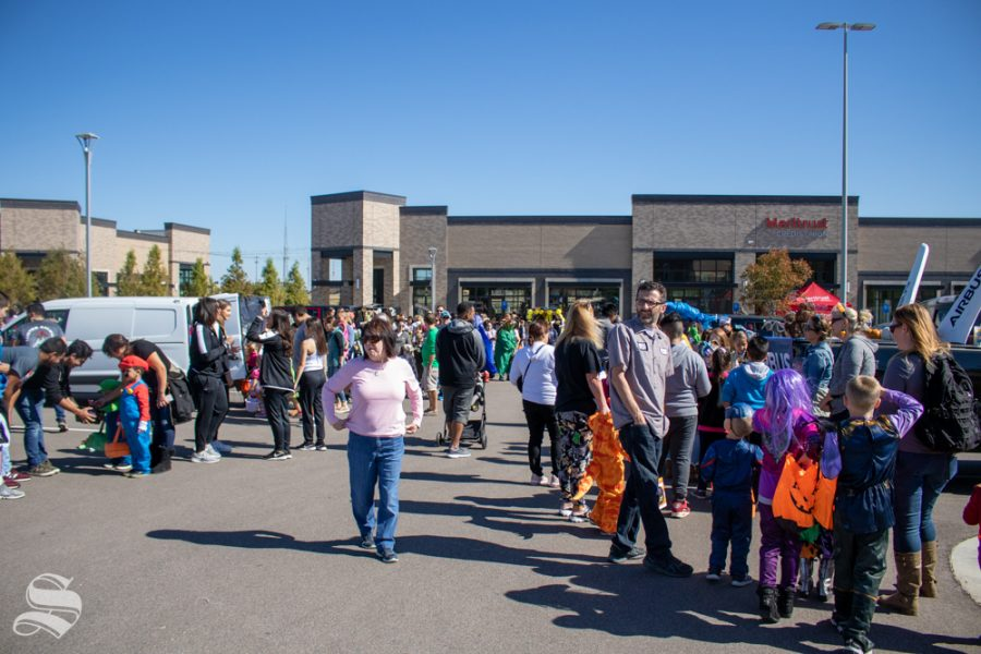 The crowd grows at the 2019 Trunk or Treat event on Saturday, Oct. 19 at Braeburn Square.