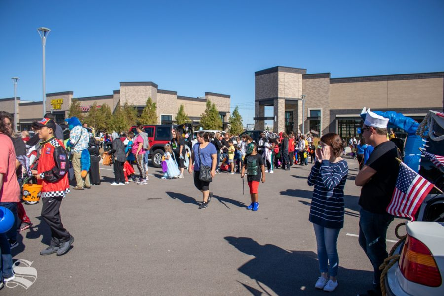 The line grows as attendees arrive for the Trunk or Treat event on Saturday, Oct. 19 in Braeburn Square.