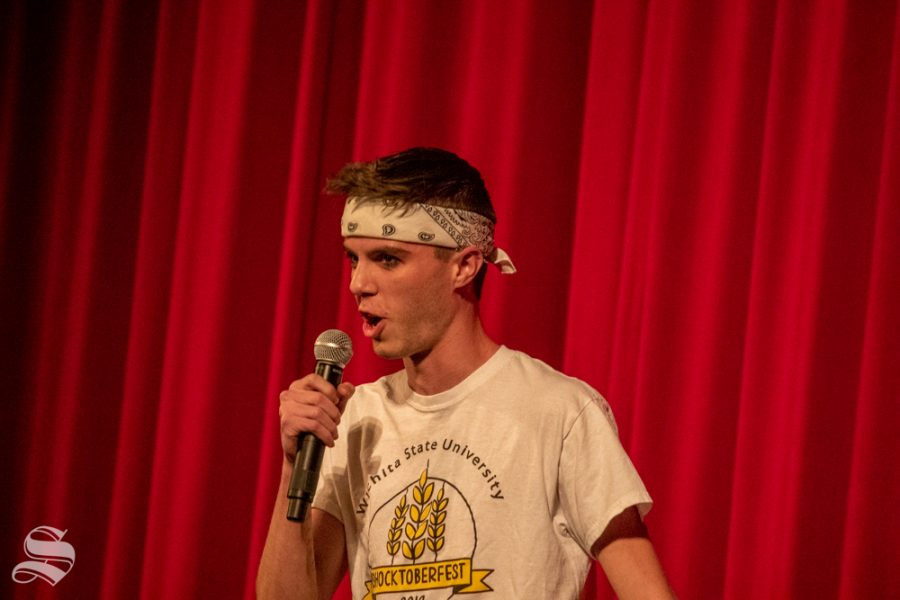 Jonas Zabriskie emcees during Songfest on Saturday, Oct. 26 at the Orpheum Theatre. Songfest is a lip sync and dance battle competition between sororities and fraternities.
