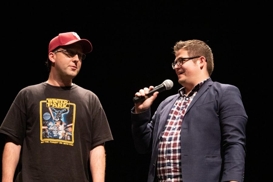 Eric Dittelman is on stage with an event goer who only provided the name Matt. Dittelman guessed what Matt was wearing prior to the start of the show.