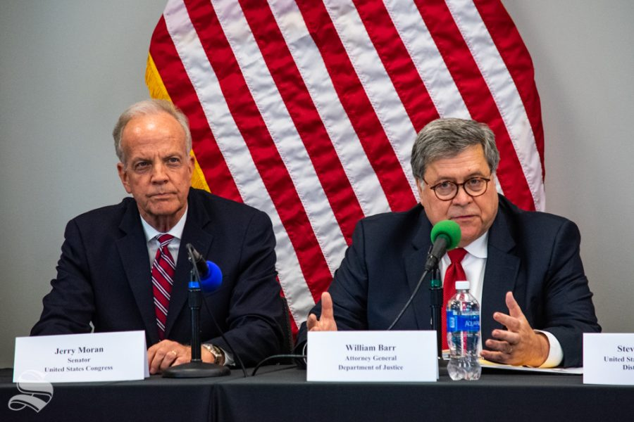 U.S.+Attorney+General+William+Barr+speaks+on+the+reduction+of+violent+crime+in+Wichita%2C+Kansas%2C+on+Oct.+2+during+a+visit+to+the+Wichita+State+Law+Enforcement+Training+Center+alongside+Sen.+Jerry+Moran.