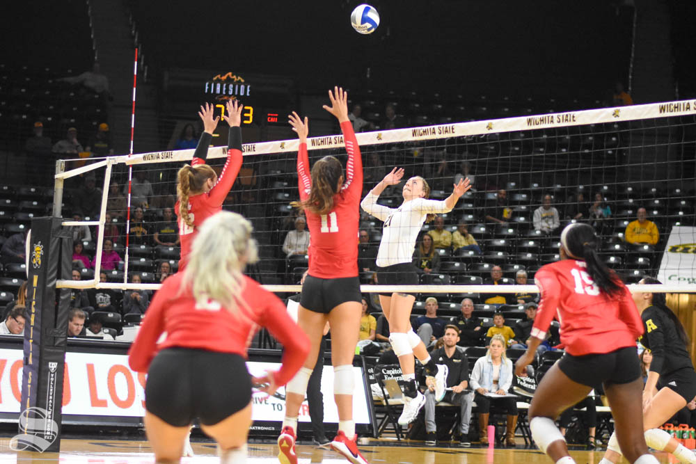 Wichita State redshirt sophomore Megan Taflinger goes up for a kill against Houston on Friday inside Charles Koch Arena.