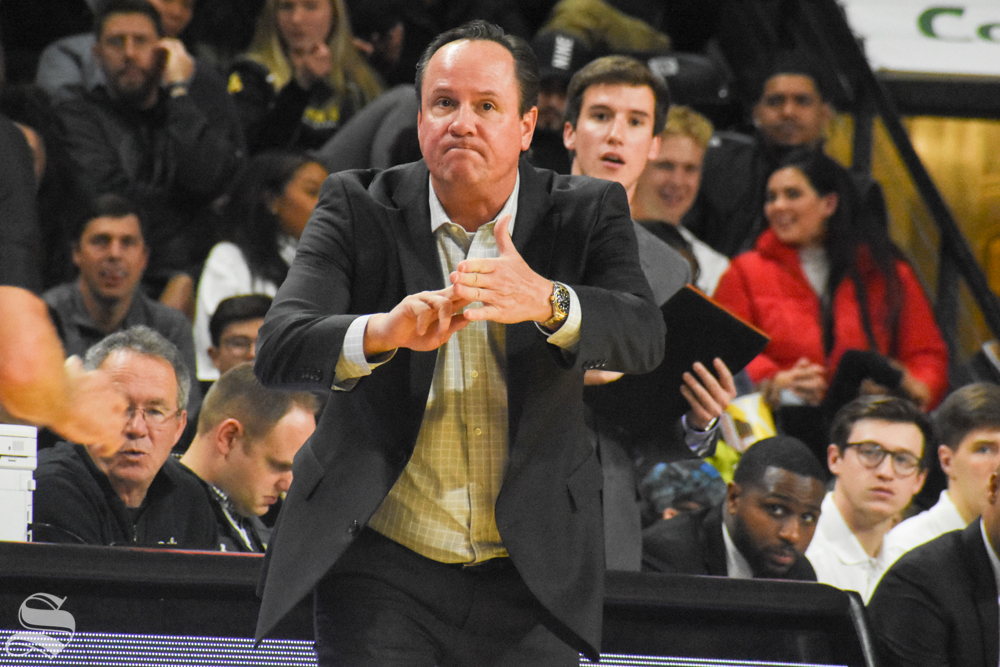 Head Coach Gregg Marshall calls a timeout during the second half of the game against NSU on Tuesday, Oct. 29.