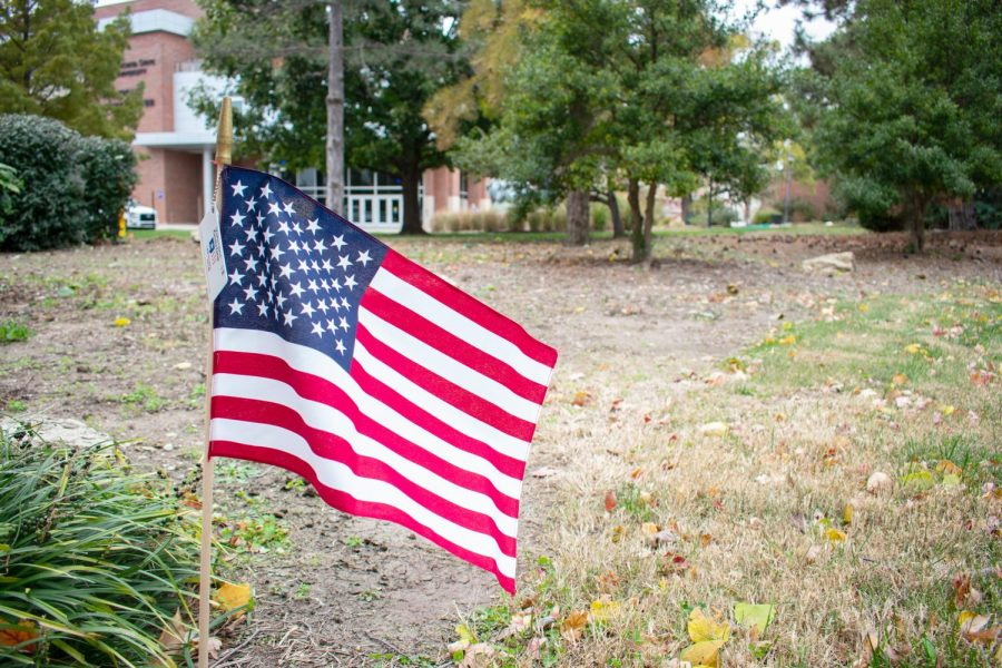 Flags line the sidewalks on Wichita State's main campus in support of Veterans. Each flag holds a tag with information from the Veterans Crisis Line.