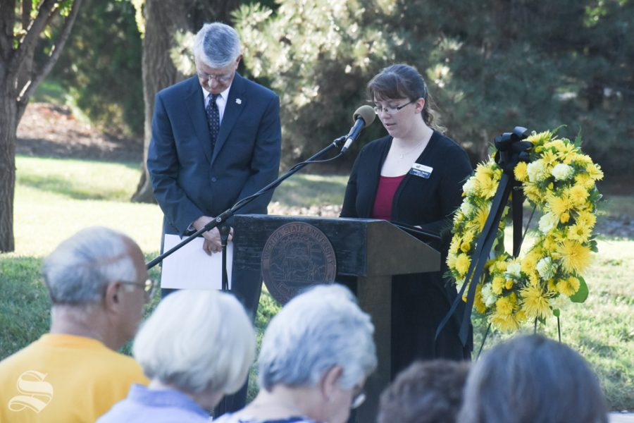 Melissa+Hasty%2C+Director+of+Campus+Ministry%2C+reads+the+prayer+at+WSU%27s+Football+Memorial+%2770.+This+was+the+49th+annual+ceremony+in+honor+of+the+lives+lost+during+the+plane+crash.