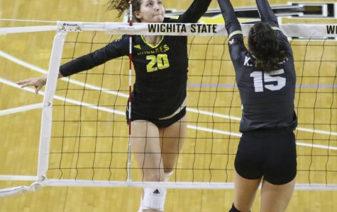 Wichita State's Sophia Rohling hits against Central Florida at Koch Arena on Friday, Oct. 18, 2019.