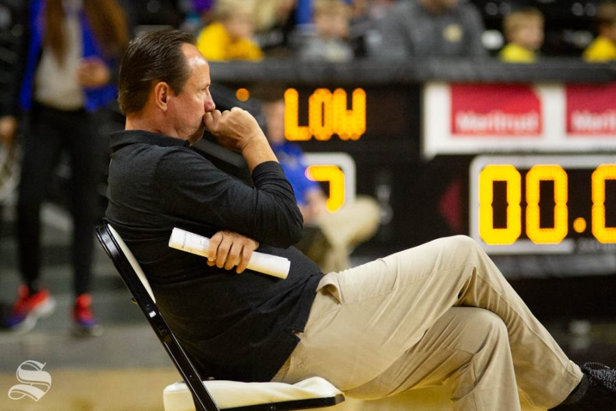 Head+Coach+Gregg+Marshall+watches+the+Black+and+Yellow+Scrimmage+on+Saturday+inside+Charles+Koch+Arena.