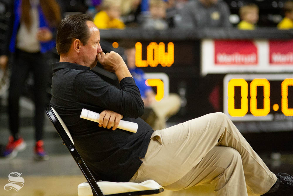 Head Coach Gregg Marshall watches the Black and Yellow Scrimmage on Saturday inside Charles Koch Arena.