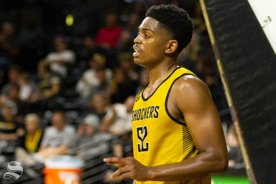 Wichita+State+freshman+Grant+Sherfield+reacts+to+a+foul+call+during+the+Black+and+Yellow+Scrimmage+last+month+inside+Charles+Koch+Arena.
