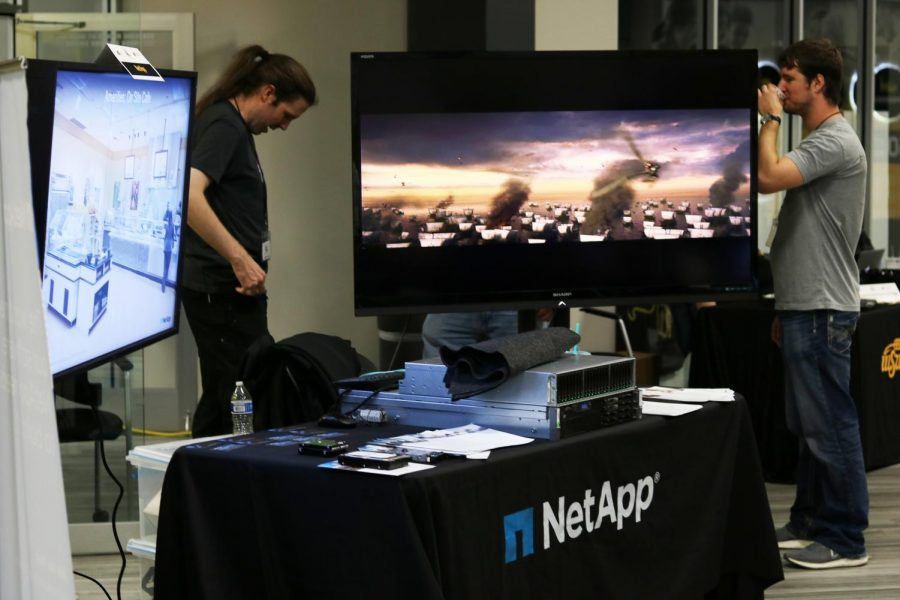 Netapps table waits for attendees to peruse their content at one of several business tables at WSU Techs ICTechXpo.