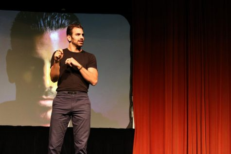 "Nyle DiMarco shares his experience as a deaf man during ""Living Out Loud"" at the Eugene M. Hughes Metropolitan Complex on Thursday."