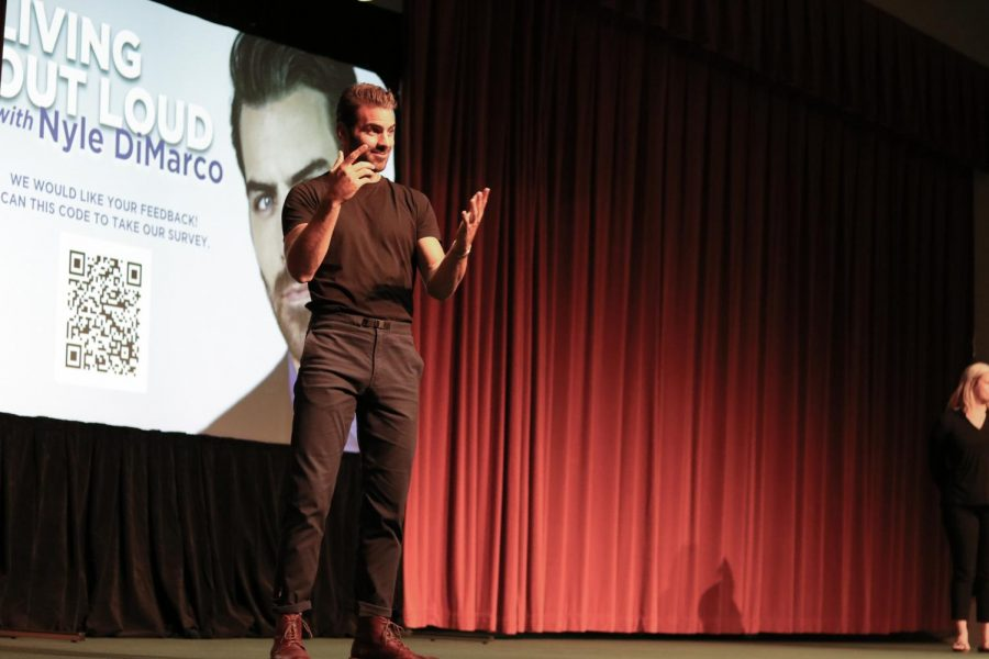 Nyle DiMarco shares his experience as a deaf man during Living Out Loud at the Eugene M. Hughes Metropolitan Complex on Thursday, October 17.