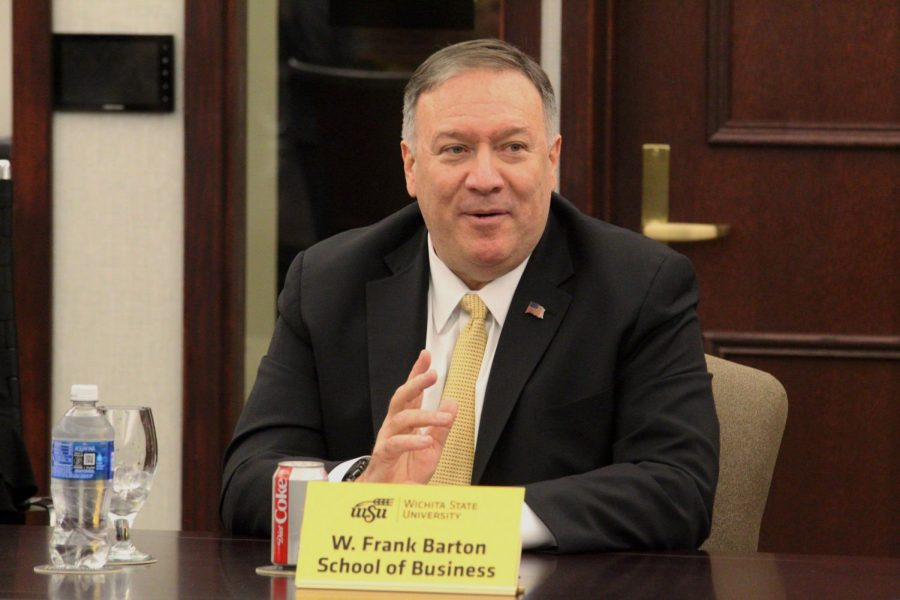 Secretary of State Mike Pompeo, who got his start as an entrepreneur in Wichita, speaks on Friday to primarily business students during a roundtable at the Woodman Alumni Center. He visited Wichita State as part of he and Ivanka Trump's visit to Kansas this week.