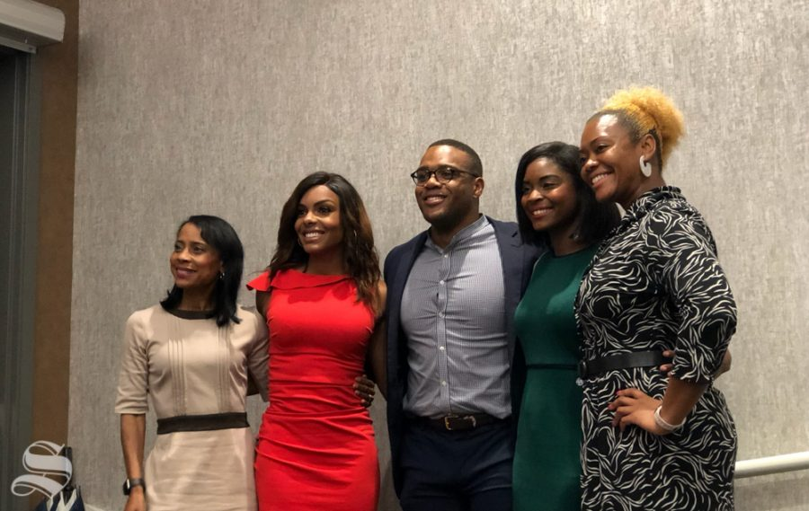 Felicia Rolfe, Kendra Douglas, Braxton Jones, Mayo Davidson and Angela Smith form the Black in Media panel hosted by the Black Student Union.