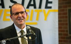 Wichita State's new President Jay Golden speaks at a press conference on Thursday. Golden, formerly a vice chancellor at East Carolina University, was selected by the Kansas Board of Regents in a closed search process.