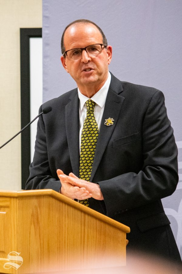 Jay Golden speaks to the presidential announcement attendees about his selection as the new president of Wichita State University on Thursday, Oct. 31 at the Rhatigan Student Center.