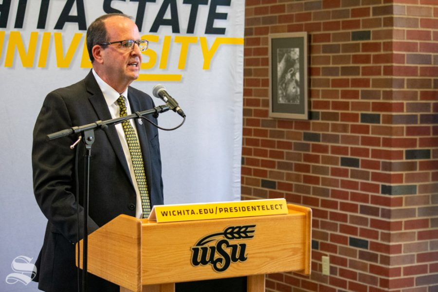 Jay Golden, the new president of Wichita State University, answers questions from members of the press on Thursday, Oct. 31 in the Rhatigan Student Center.