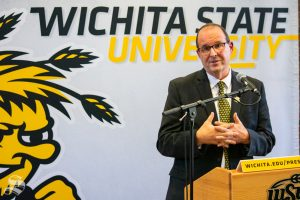 Jay Golden, the new president of Wichita State University, answers questions from members of the press on Thursday, Oct. 31 in the Rhatigan Student Center. Golden previously served as the vice chancellor for the Division of Research, Economic Development and Engagement at East Carolina University.