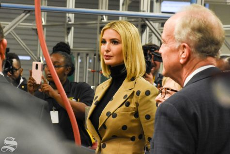 Ivanka Trump, senior advisor to the President of the United States, listens to students at WSU Tech on Thursday, Oct. 24.