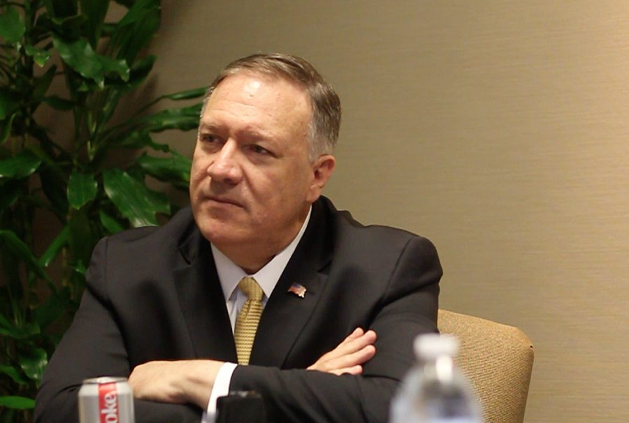 Secretary+of+State+Mike+Pompeo+sits+down+for+an+interview+with+The+Sunflower+on+Friday+as+part+of+his+visit+to+Wichita+State+University+for+a+roundtable+on+business.+The+former+U.S.+Representative+for+Kansas%27+4th+District+visited+Kansas+with+Ivanka+Trump+this+week%2C+touring+WSU+Tech+and+Textron+Aviation+East.+