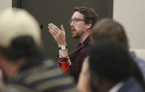 Senator Mathew Tucker asks a question during public forum at the SGA session held on Wednesday, Oct. 2, 2019.
