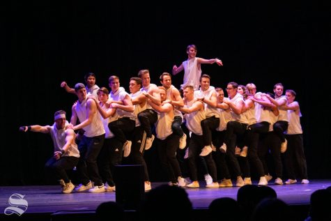 Sigma Alpha Epsilon members perform their routine during Songfest on Saturday, Oct. 26 at the Orpheum Theatre. Sigma Alpha Epsilon placed first in Songfest and placed first in the Shocktoberfest competition.