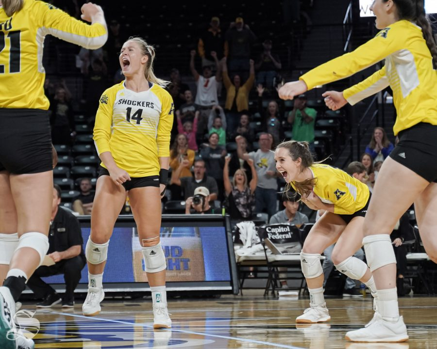 Wichita+State+junior+Mckayla+Wuensch+and+senior+Kara+Bown+celebrate+after+winning+a+set+against+Tulane+on+October+13%2C+2019+at+Koch+Area.