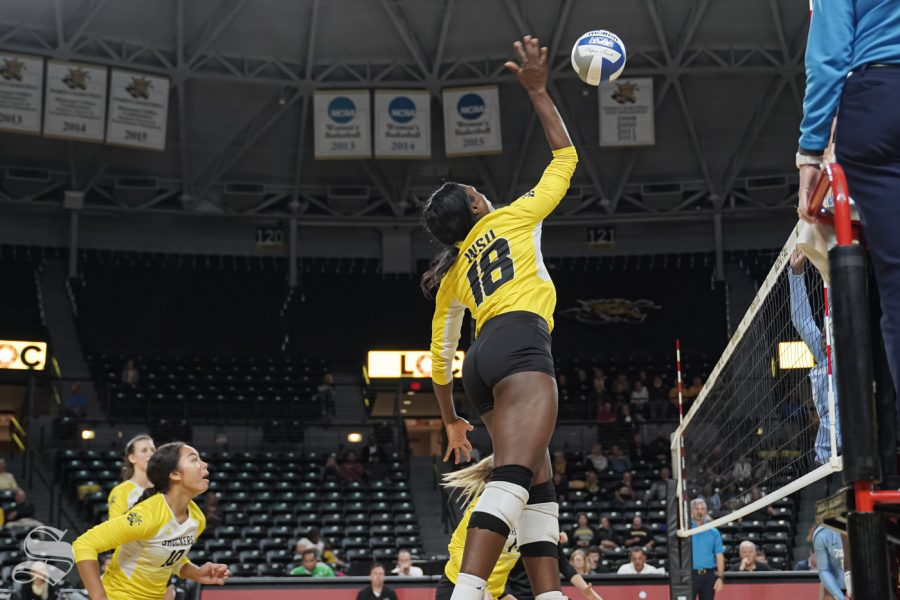 Wichita State redshirt freshman Chinelo Ogogor goes up for a kill during the game against Tulane on October 13, 2019 at Koch Area.