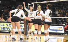 Freshman  Brylee Kelly celebrates with her teammates after scoring against the Houston Cougars on Oct. 11.