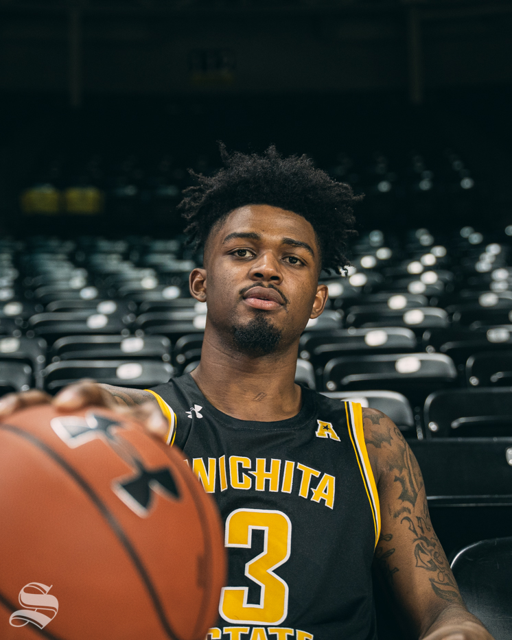 DeAntoni Gordon poses for a picture during media day on Oct. 15 inside Charles Koch Arena.