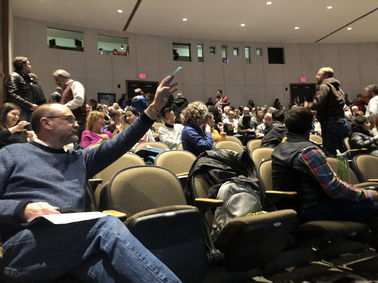 Faculty vote on a proposed gen ed revision at the General Faculty meeting on Nov. 11 in the CAC Theater.