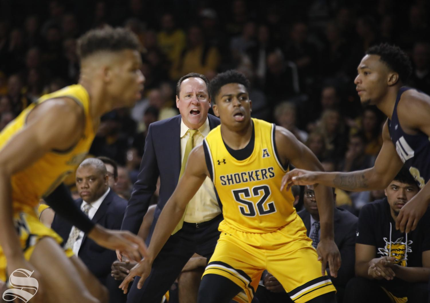 Wichita State head coach Gregg Marshall calls a play during second half of the game against Oral Roberts at Charles Koch Arena on Saturday, Nov. 23, 2019.