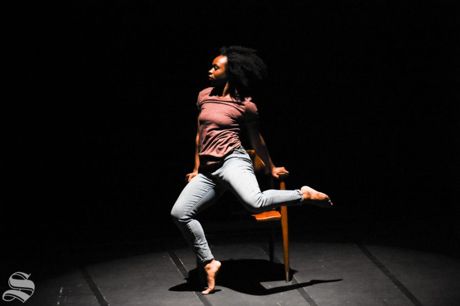 Aviance+Battles%2C+a+student+majoring+in+Dance+at+Wichita+State+University%2C+performs+her+routine+%22Dear+Me%22+during+the+Kansas+Dance+Festival+on+Saturday+in+the+Wilner+Auditorium.