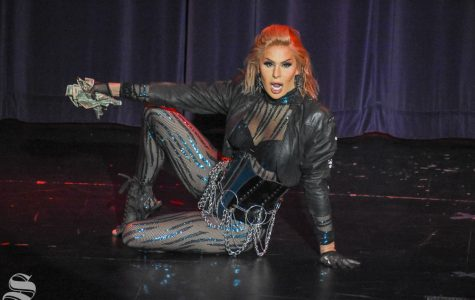 Trinity the Tuck performs her opening dance routine during the 10th Annual Drag Show on Friday, Nov. 15 in the CAC Theatre.