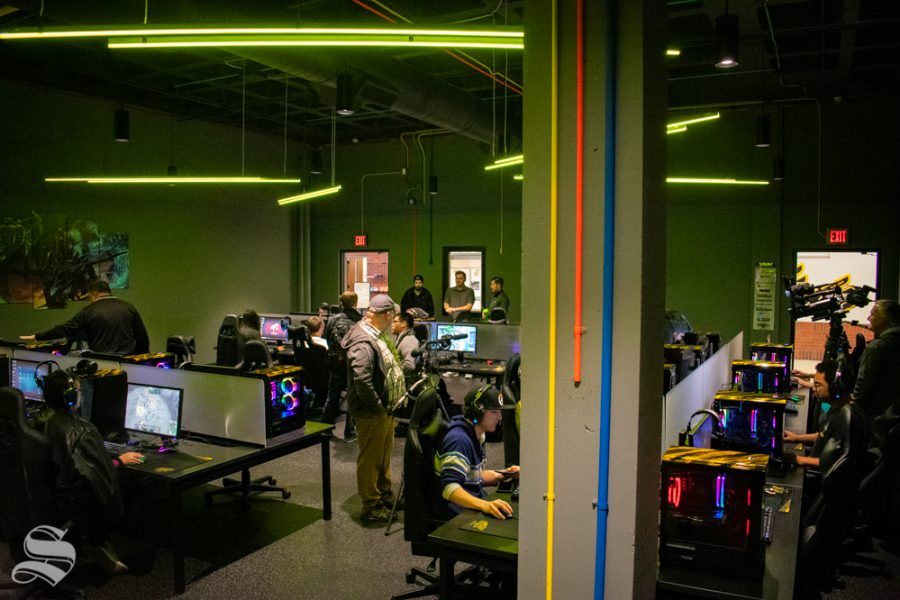 Students and faculty participate in the opening of the WSU esports hub on Tuesday, Nov. 5 in the Heskett Center.