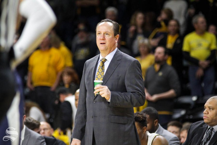 Head Coach Gregg Marshall watches in awe after a foul call in the second half of the game against UT-Martin on Nov. 16 inside Charles Koch Arena.