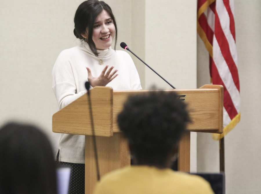 Odalis Jacqueline Vicencio speaks to the Student Senate during its Wednesday meeting. Vicencio, a sophomore studying political science, was appointed a Student Supreme Court justice at the meeting.