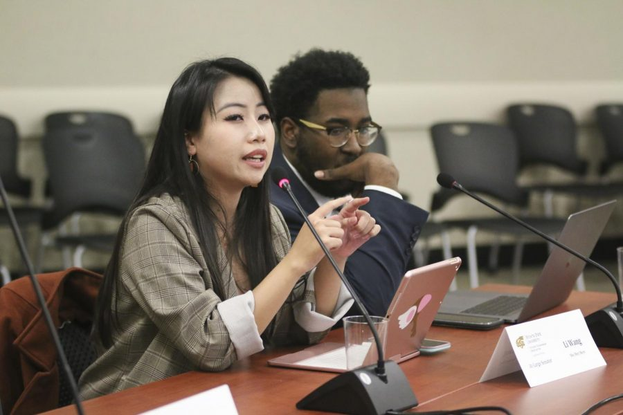 At-Large+Senator+Li+Wang+asks+questions+about+the+McKinney-Vento+Scholarship+Act+during+SGA+on+Wednesday%2C+Nov.+20%2C+2019.+The+bill+would+establish+a+scholarship+fund+for+homeless+students.