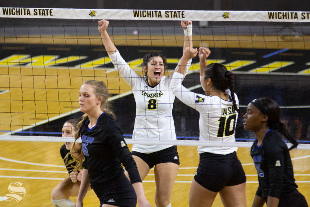 Wichita State freshman Arianna Arjomand celebrates a point during the match against Tulsa on Nov. 15 inside Charles Koch Arena.