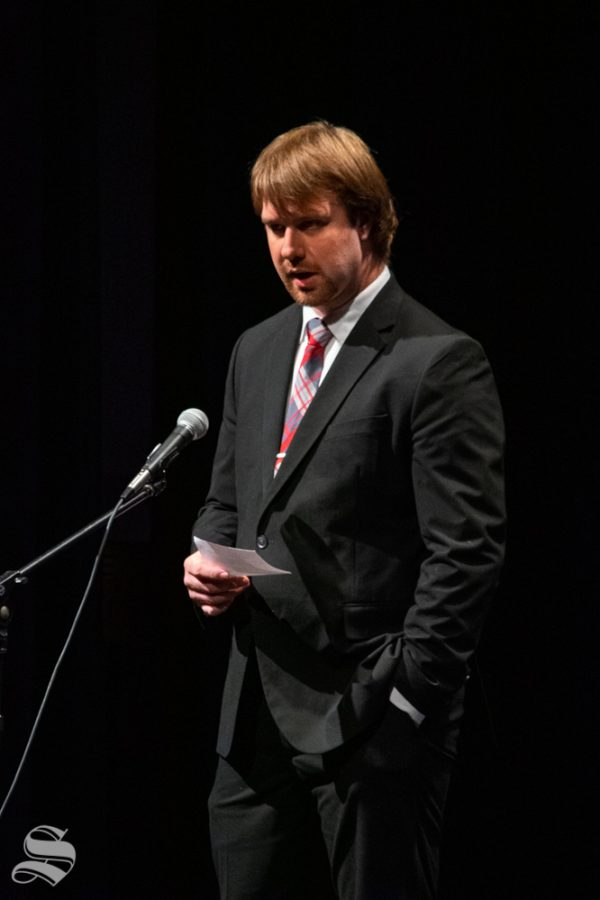Joshua Keese, a senior studying management information systems, emcees during Japanese Culture Night on Friday, Nov. 1 in the CAC Theater.