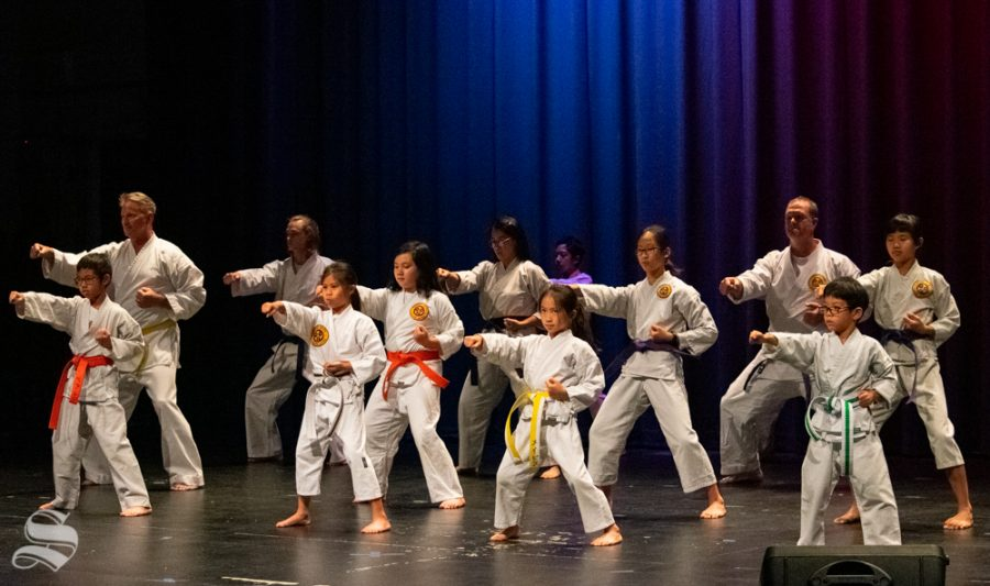 Okinawa Karate Dojo members perform a karate demonstration during Japanese Culture Night on Friday, Nov. 1 at the CAC Theater.