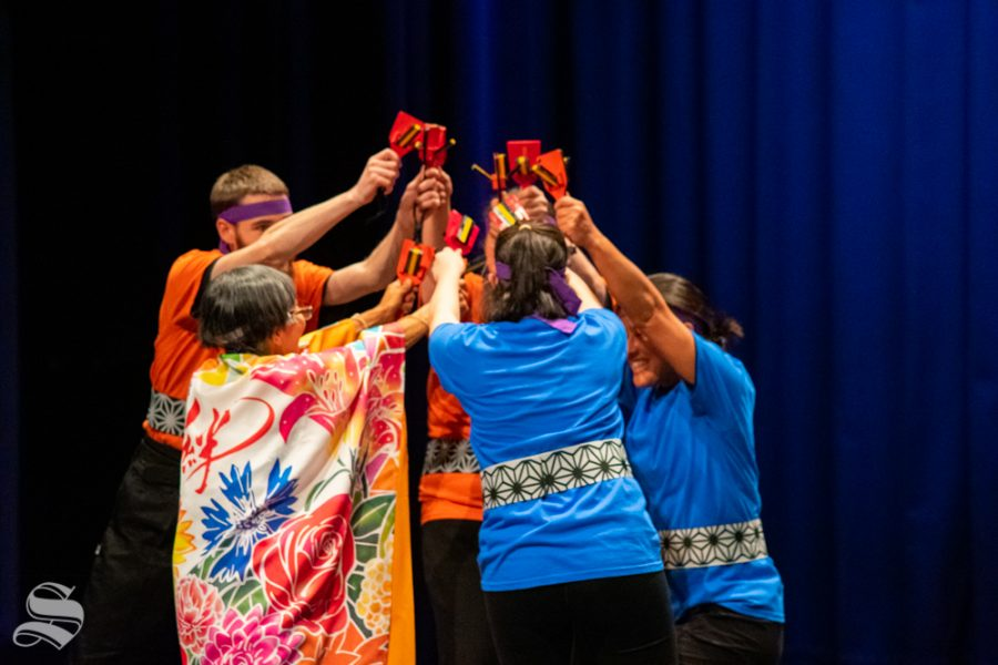 Kanas State Universitys Yosakoi Dancers perform during Yokoso: Japanese Culture Night on Friday, Nov. 1 at the CAC Theater.