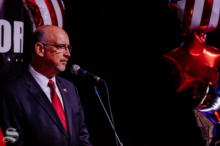 Mayor Jeff Longwell takes to the stage to address the crowd during the mayoral watch party on Tuesday, Nov. 5 at WAVE in downtown Wichita.