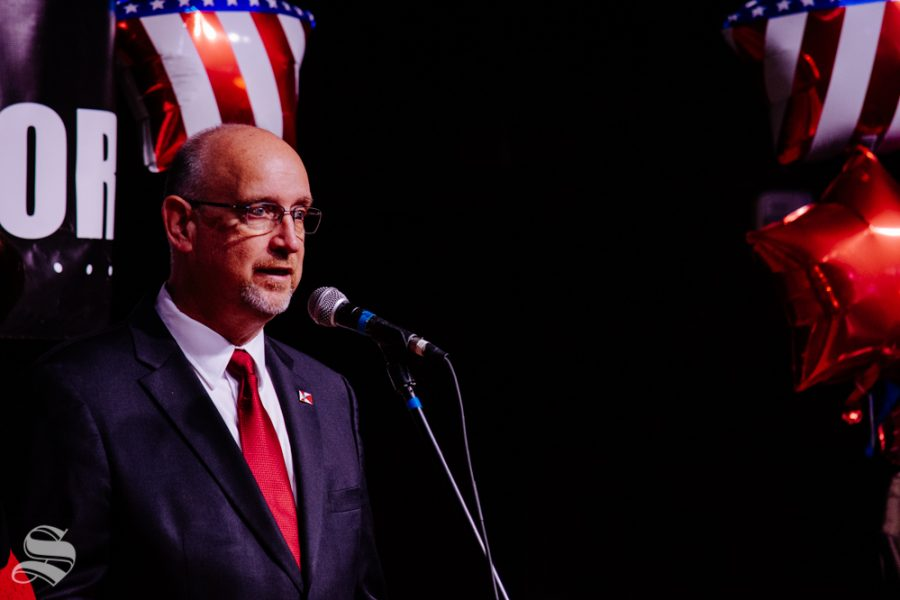 Mayor Jeff Longwell addresses the crowd during the mayoral watch party on Tuesday, Nov. 5 at WAVE in downtown Wichita.